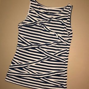 Navy Blue and White striped sleeveless shirt
